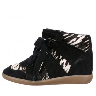 Isabel Marant black pony hair Bobby sneakers