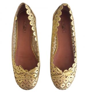 Alaia Gold Lace Ballet Pumps