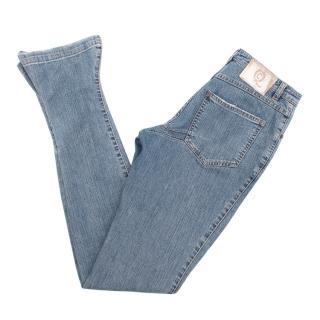 Alexander McQueen silk blend high waisted jeans