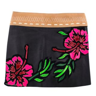 Jitrois leather floral embroidered skirt