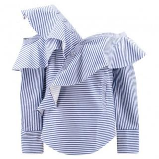 Self Portrait Ruffled One Shoulder Striped Top