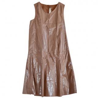 Marni nude pleated coated plastic dress