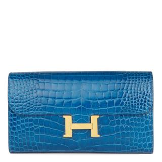 Hermes alligator leather constance long wallet