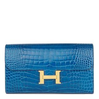 Hermes alligator leather constance long wallet
