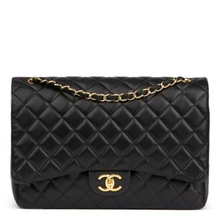 Chanel Black Quilted Maxi Double Flap Bag
