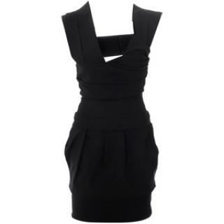 Preen Black Satin Power Dress