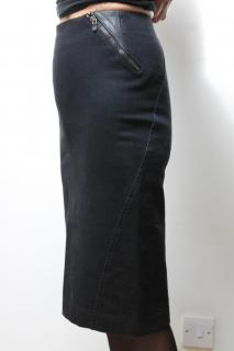 McQ Black denim stretch skirt