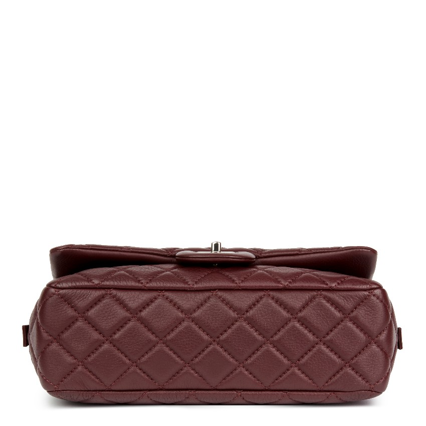 7ac98ebbc0fe38 Chanel Quilted Jumbo Aubergine Calfskin Flap Bag. 20. 12345678910