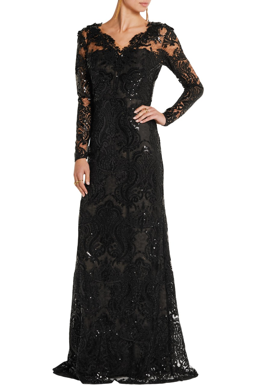 Marchesa Notte sequinned black evening gown