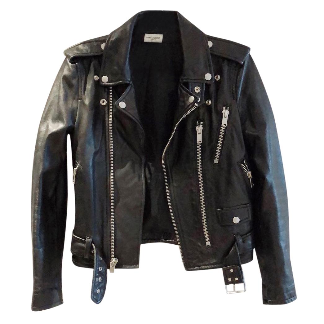 Saint Laurent belted lamb leather jacket