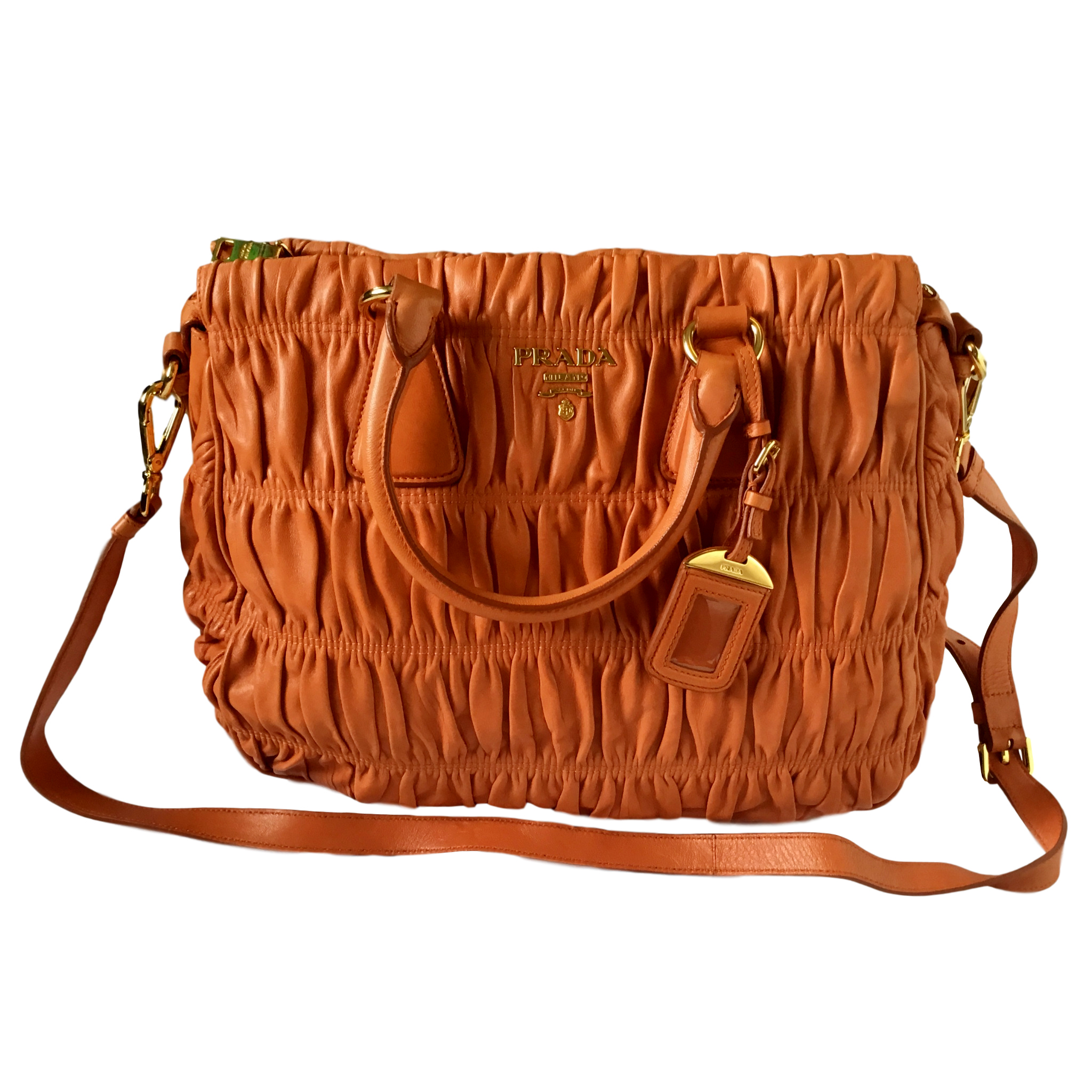 b4c21de8993f Prada Ruched Orange Nappa Gaufre Bn1336 Bag | HEWI London