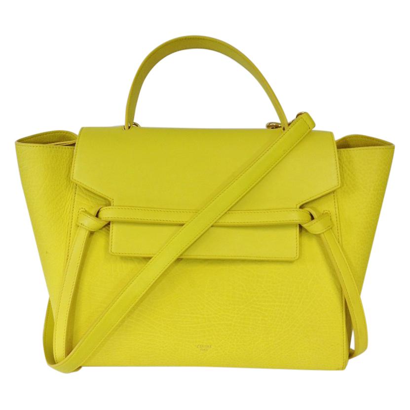 Celine Yellow Pebbled Leather Mini Belt Bag  1c770140cd38f