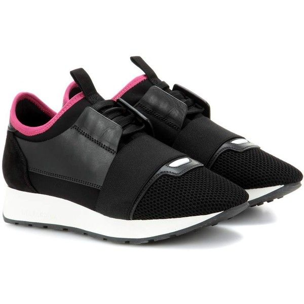 8f7b99666376 Balenciaga Pink And Black Race Runner Sneakers