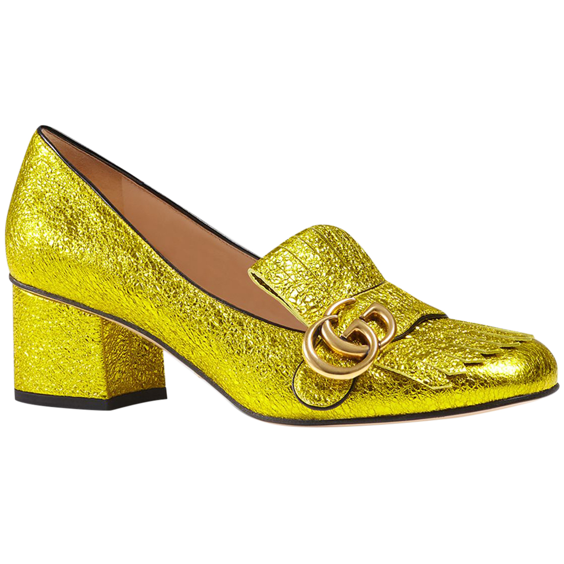 21d521460fd Gucci Marmont Gg Metallic Yellow Gold Mid Heel Shoes