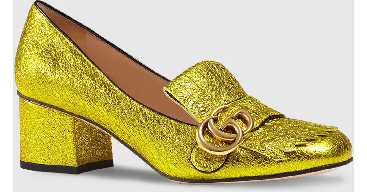ba536fe4809 Gucci Marmont Gg Metallic Yellow Gold Mid Heel Shoes | HEWI London