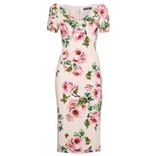 2018 Dolce and Gabbana pink floral dress
