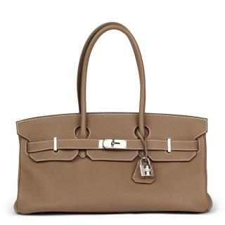 Hermes  Togo Leather Etoupe Shoulder Birkin II