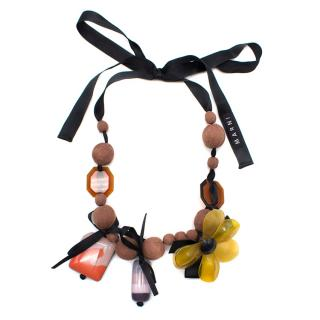 Marni Long Flower Pendant Necklace with Silk Bow Tie