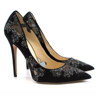 Jimmy Choo Suede Crystal Embellished Stiletto Pumps