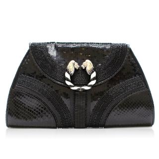 Bvlgari Python Embellished Lion Head Clutch Bag