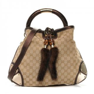 Gucci Monogram Mink Indy Small Top Handle Bag.