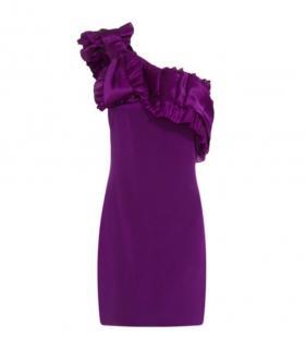 Marchesa Notte One shoulder plum dress