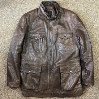 Hugo Bass Niroy Leather Field Biker Jacket