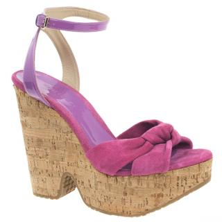 Jimmy Choo Suede and Patent Leather Cork Wedges