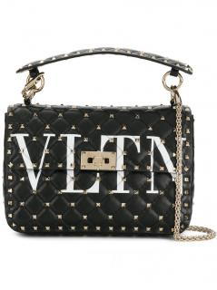 Valentino Black Rockstud Spike 'VLTN' Medium Bag