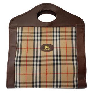Burberrys Brown Check Tartan Hand Held Bag / Tote.