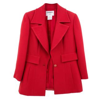 Chanel Red Tailored Wool Jacket