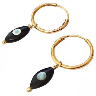 Iam Ileana Makri Onyx Evil Eye Earrings new with pouch