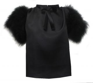 Maguy De Chadirac Marabou feather sleeves Blouse
