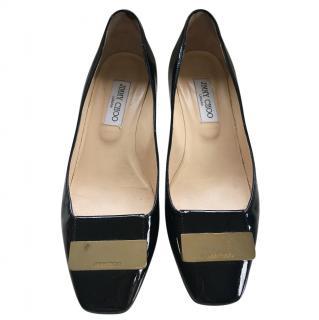 Jimmy Choo black patent low heel pump