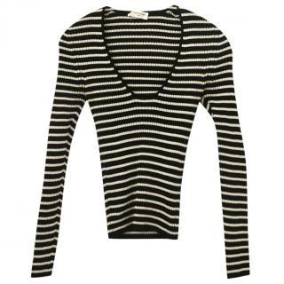 Saint Laurent striped sparkly lurex knit top