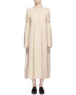 MS MIN Beige hoigh neck beige linen dress