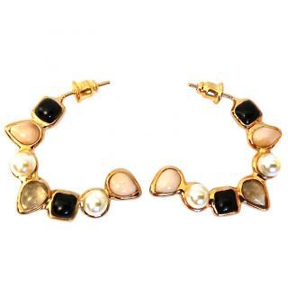 Gripoix Paris Glass & Pearl Hoop Earrings Rrp �329.00