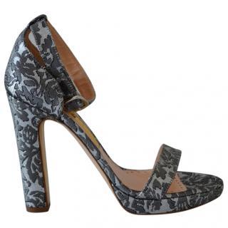 Rupert Sanderson Grey cotton and leather Preciosa sandals