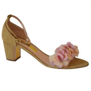 Rupert Sanderson Crimson Clay/Beige Suede Sandals