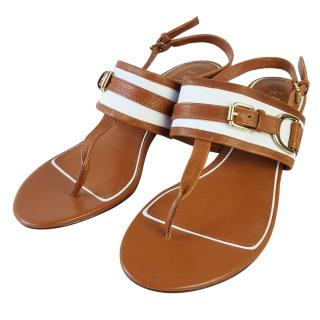Ralph Lauren Brown Leather Canvas Strap Sandals