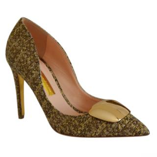 Rupert Sanderson Pinka Gold Tweed Pumps with Gold Pebble
