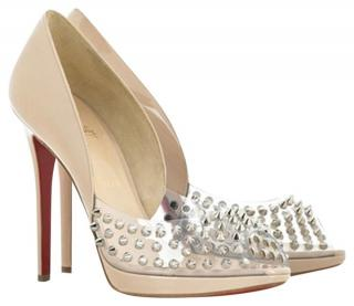 Christian Louboutin Elgin 120 nude patent pumps