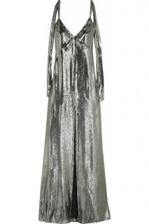 Saint Laurent runway silk-blend lame dress