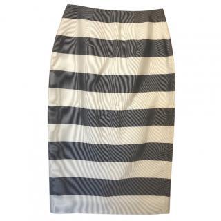 Burberry grey striped silk blend skirt