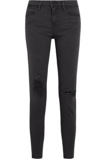 Frame le high skinny distressed charcoal jeans