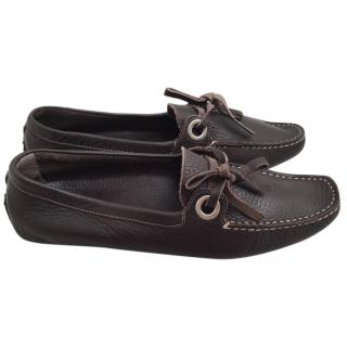 Bally ladies brown leather moccasins