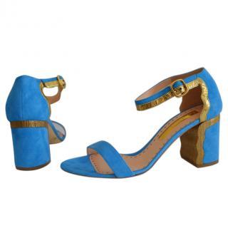 Rupert Sanderson Ripple Suede Azure/Blue Sandals