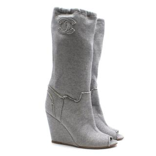 Chanel Grey Jersey Peep toe Boots