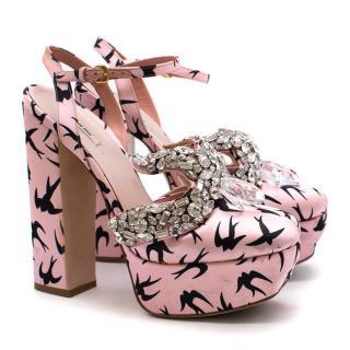 Mui Mui Crystal & Satin Swallow Print Sandals