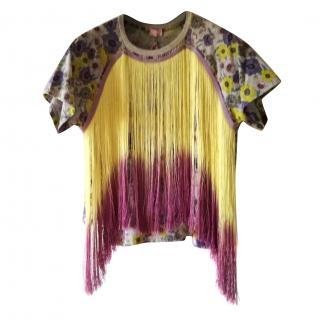 Giambattista Valli fringed floral t-shirt